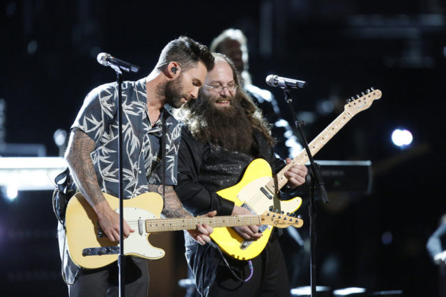 "THE VOICE -- ""Live Finale"" Episode: 1018A -- Pictured: (l-r) Adam Levine, Laith Al-Saadi -- (Photo by: Trae Patton/NBC)"