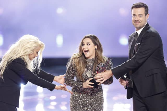 "THE VOICE -- ""Live Finale"" Episode 1018B -- Pictured: (l-r) Christina Aguilera, Alisan Porter, Carson Daly -- (Photo by: Tyler Golden/NBC)"
