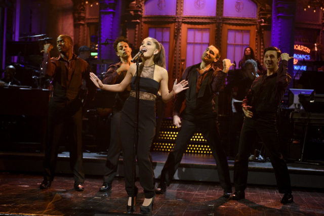 "SATURDAY NIGHT LIVE -- ""Ariana Grande"" Episode 1698 -- Pictured: Host Ariana Grande during the monologue on March 12, 2016 -- (Photo by: Dana Edelson/NBC)"