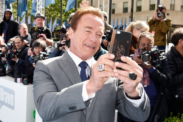 "NBCUNIVERSAL UPFRONT -- ""2016 NBCUniversal Upfront in New York City on Monday, May 16, 2016"" -- Pictured: Arnold Schwarzenegger, ""The New Celebrity Apprentice"" on NBC -- (Photo by: Peter Kramer/NBCUniversal)"