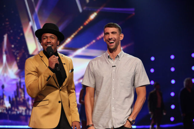 "AMERICA'S GOT TALENT -- ""Live Results 3"" Episode: 1117 -- Pictured: (l-r) Nick Cannon, Michael Phelps -- (Photo by: Vivian Zink/NBC)"