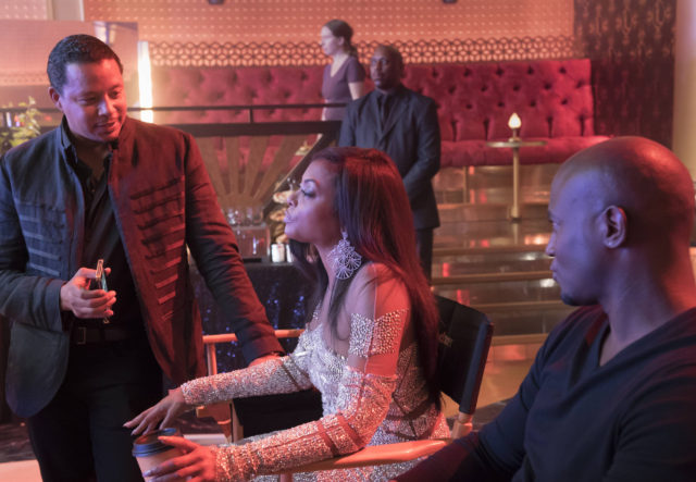 """EMPIRE: Pictured L-R: Terrence Howard, Taraji P. Henson, and guest star Taye Diggs in the """"Cupid Kills"""" episode of EMPIRE airing Wednesday, Oct. 12 (9:00-10:00 PM ET/PT) on FOX. ©2016 Fox Broadcasting Co. CR: Chuck Hodes/FOX"""