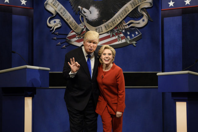 "SATURDAY NIGHT LIVE -- ""Margot Robbie"" Episode 1705 -- Pictured: (l-r) Alec Baldwin as Republican Presidential Candidate Donald Trump and Kate McKinnon as Democratic Presidential Candidate Hillary Clinton during the ""Debate Cold Open"" sketch on October 1, 2016 -- (Photo by: Will Heath/NBC)"