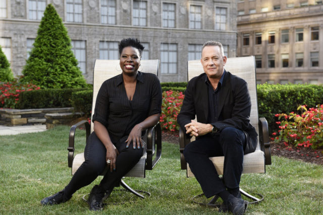 "SATURDAY NIGHT LIVE -- ""Tom Hanks"" Episode 1708 -- Pictured: (l-r) Leslie Jones and host Tom Hanks on October 18, 2016 -- (Photo by: Rosalind O'Connor/NBC)"