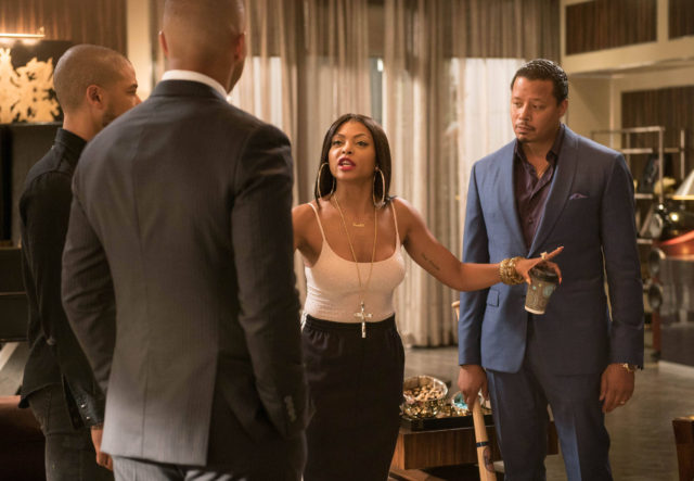 """EMPIRE: Pictured L-R: Jussie Smollett, Trai Byers, Taraji P. Henson and Terrence Howard in the """"One Before Another"""" episode of EMPIRE airing Wednesday, Nov. 2 (9:00-10:00 PM ET/PT) on FOX. ©2016 Fox Broadcasting Co. CR: Jean Whiteside/FOX"""