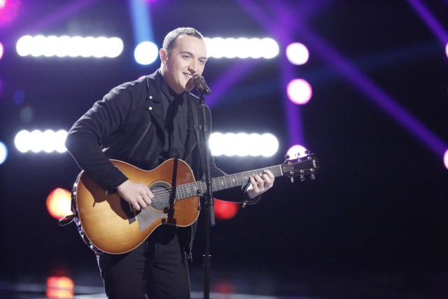"""THE VOICE -- """"Live Top 12"""" Episode 1114B -- Pictured: Aaron Gibson -- (Photo by: Tyler Golden/NBC)"""