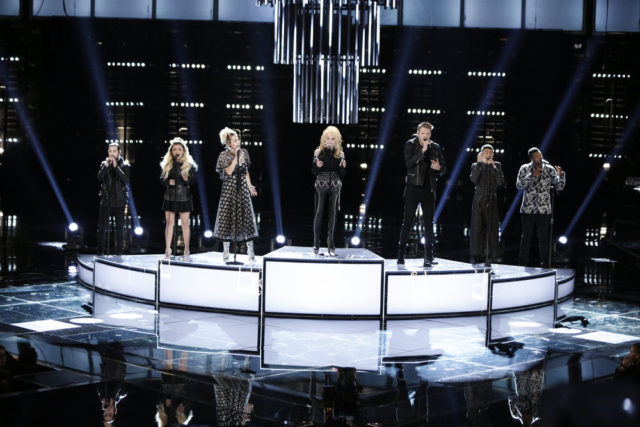 "THE VOICE -- ""Live Top 10"" Episode 1116B -- Pictured: (l-r) Pentatonix, Miley Cyrus (left center), Dolly Parton (Center) -- (Photo by: Tyler Golden/NBC)"