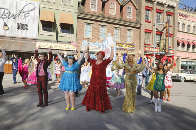 HAIRSPRAY LIVE! -- Season: 2016 -- Pictured: (l-r) Derek Hough as Corny Collins, Garrett Clayton as Link Larson, Maddie Baillio as Tracy Turnblad, Harvey Feinstein as Edna Turnblad, Jennifer Hudson as Motormouth Maybelle, Ariana Grande as Penny Pingleton -- (Photo by: Trae Patton/NBC)