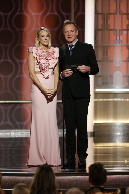 74th ANNUAL GOLDEN GLOBE AWARDS -- Pictured: (l-r) Carrie Underwood, Sting, Presenters, at the 74th Annual Golden Globe Awards held at the Beverly Hilton Hotel on January 8, 2017 -- (Photo by: Paul Drinkwater/NBC)