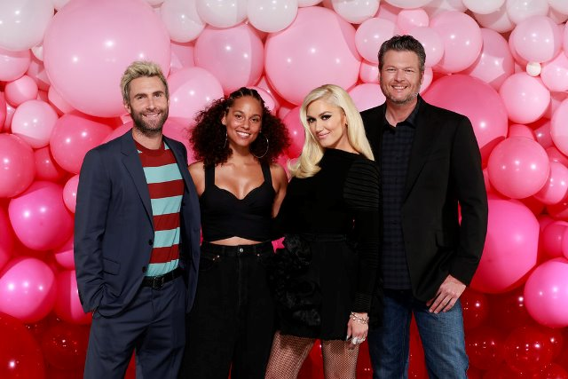 "THE VOICE -- ""Season 12 Press Junket"" -- Pictured: (l-r) Adam Levine, Alicia Keys, Gwen Stefani, Blake Shelton; ?The Voice? coaches ?Feel the Love? as they prepare for the new season, premiering Monday, February 27 (8 p.m. ET/PT) -- (Photo by: Chris Haston/NBC)"