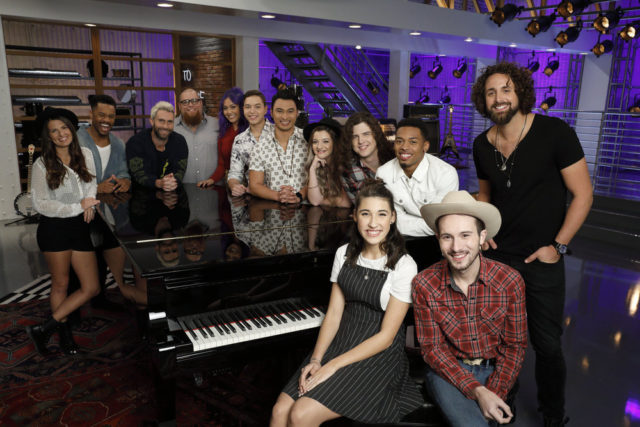"THE VOICE -- ""Team Adam Battle Reality"" -- Pictured: (l-r) Sheena Brook, Kawan Debose, Adam Levine, Jesse Larson, Gaby Borromeo, Mark Isaiah, Julien Martinez, Nala Price, Josh West, Hanna Eyre, Malik Davage, Taylor Alexander, Johnny Hayes -- (Photo by: Trae Patton/NBC)"