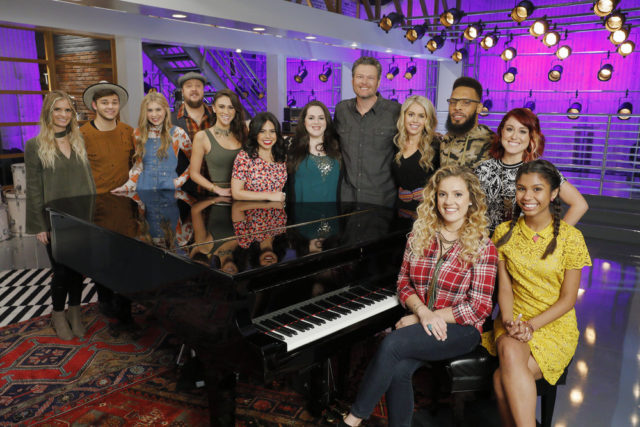 "THE VOICE -- ""Team Blake Pictured: (l-r) Lauren Duski, Dawson Coyle, Brennley Brown, Josh Hoyer, Micah Clare Tryba, Valerie Ponzio, Enid Ortiz, Blake Shelton, Andrea Thomas, TSoul, Ashley Levin, Casi Joy, Aliyah Moulden -- (Photo by: Trae Patton/NBC)"