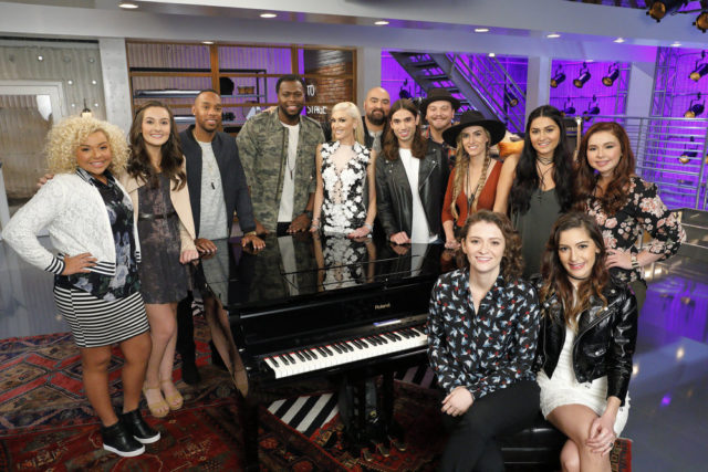 "THE VOICE -- ""Team Gwen Battle Reality"" -- Pictured: (l-r) Aaliyah Rose, Caroline Sky, Brandon Royal, J Chosen, Gwen Stefani, Troy Ramey, Johnny Gates, Kenny P, Stephanie Rice, Sammie Zonana, Jozy Bernadette, Davina Leone, Savannah Leighton -- (Photo by: Trae Patton/NBC)"