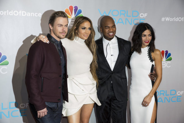 "WORLD OF DANCE -- ""World of Dance Red Carpet"" -- Pictured: (l-r) Derek Hough, Jennifer Lopez, Ne-Yo, Jenna Dewan Tatum -- (Photo by: Justin Lubin/NBC)"
