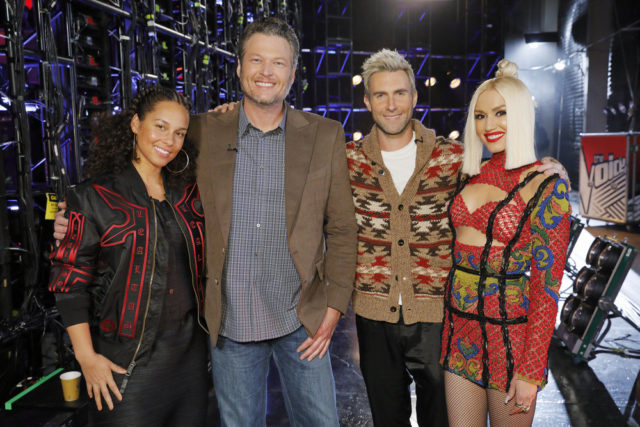 "THE VOICE -- ""Battle Rounds"" -- Pictured: (l-r) Alicia Keys, Blake Shelton, Adam Levine, Gwen Stefani -- (Photo by: Trae Patton/NBC)"