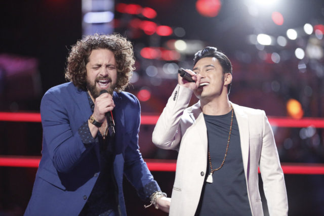 "THE VOICE -- ""Battle Rounds"" -- Pictured: (l-r) Johnny Hayes, Julien Martinez -- (Photo by: Tyler Golden/NBC)"