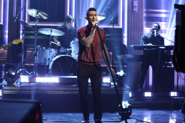 THE TONIGHT SHOW STARRING JIMMY FALLON -- Episode 639 -- Pictured: Adam Levine of musical guest Maroon 5 performs on March 14, 2017 -- (Photo by: Andrew Lipovsky/NBC)