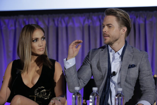 "NBCUNIVERSAL EVENTS -- 2017 NBCUniversal Summer Press Day -- NBC Session, ""World of Dance"" -- Pictured: (l-r) Jennifer Lopez, Executive Producer/Judge, Derek Hough, Judge -- (Photo by: Chris Haston/NBCUniversal)"