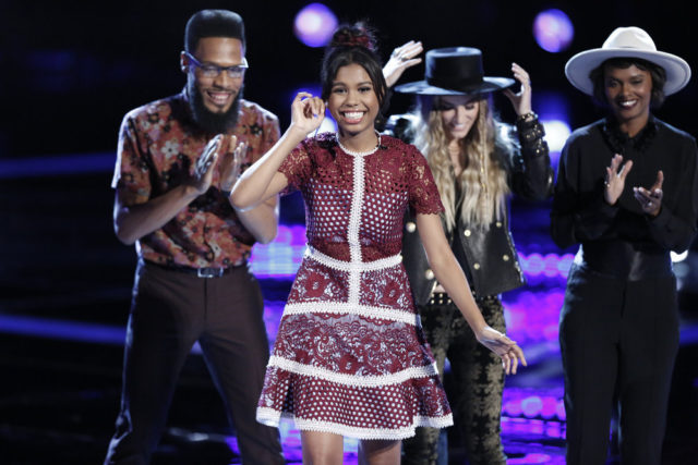 """THE VOICE -- """"Live Top 11"""" Episode 1216B -- Pictured: (l-r) TSoul, Aliyah Moulden, Stephanie Rice, Vanessa Ferguson -- (Photo by: Tyler Golden/NBC)"""