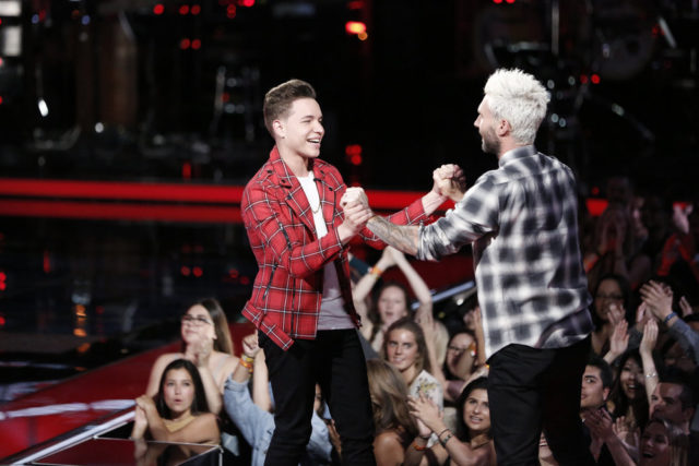 """THE VOICE -- """"Live Top 11"""" Episode 1216B -- Pictured: (l-r) Mark Isaiah, Adam Levine -- (Photo by: Tyler Golden/NBC)"""