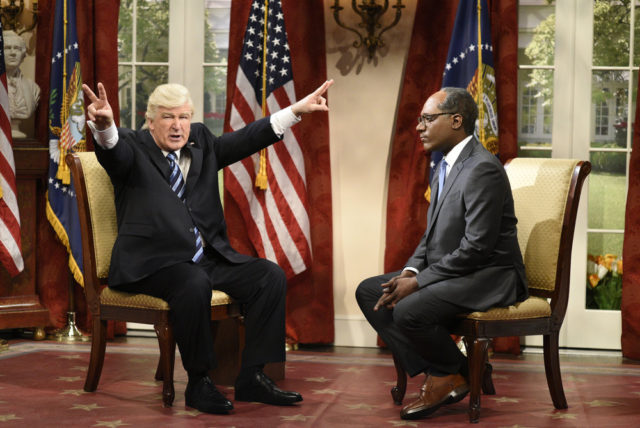 """SATURDAY NIGHT LIVE -- """"Melissa McCarthy"""" Episode 1724 -- Pictured: (l-r) Alec Baldwin as President Donald Trump, Michael Che as Journalist Lester Holt during """"Lester Holt Cold Open"""" in Studio 8H on May 13, 2017 -- (Photo by: Will Heath/NBC)"""