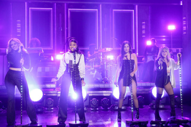 "THE TONIGHT SHOW STARRING JIMMY FALLON -- Episode 0710 -- Pictured: (l-r) Dinah Jane, Normani Kordei, Lauren Jauregui, Ally Brooke of Musical Guest ""Fifth Harmony"" perform ""Down"" on July 24, 2017 -- (Photo by: Andrew Lipovsky/NBC)"