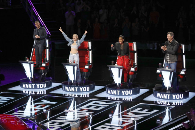"THE VOICE -- ""Blind Auditions"" -- Pictured: (l-r) Adam Levine, Miley Cyrus, Jennifer Hudson, Blake Shelton -- (Photo by: Trae Patton/NBC)"
