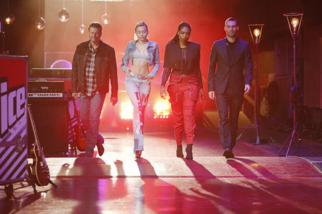"THE VOICE -- ""Blind Auditions"" Episode 1301 -- Pictured: (l-r) Blake Shelton, Miley Cyrus, Jennifer Hudson, Adam Levine -- (Photo by: Trae Patton/NBC)"