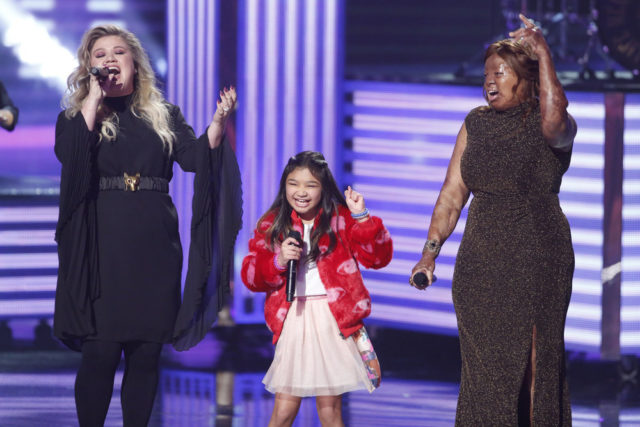 """AMERICA'S GOT TALENT -- """"Live Finale Results"""" Episode 1224 -- Pictured: (l-r) Kelly Clarkson, Angelica Hale, Kechi -- (Photo by: Trae Patton/NBC)"""