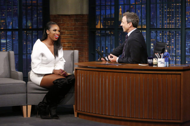 LATE NIGHT WITH SETH MEYERS -- Episode 586 -- Pictured: (l-r) Actress Jennifer Hudson talks to host Seth Meyers during an interview on September 28, 2017 -- (Photo by: Lloyd Bishop/NBC)