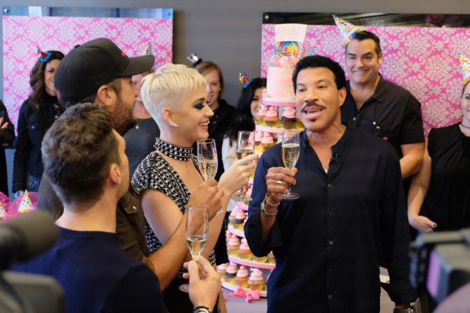 """AMERICAN IDOL - As """"American Idol"""" auditions continued this week in the heart of Music City, celebrity judges Luke Bryan and Lionel Richie, along with host Ryan Seacrest, surprised Katy Perry with a puppy themed party in honor of her upcoming birthday. (ABC/Mark Levine) RYAN SEACREST, LUKE BRYAN, KATY PERRY, LIONEL RICHIE"""