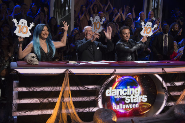 "DANCING WITH THE STARS - ""Episode 2507"" - The eight remaining couples have spent the week learning all of the bloodcurdling tricks that it will take to treat the viewers to some terrifyingly fun dances, as Halloween Night comes to ""Dancing with the Stars,"" live, MONDAY, OCTOBER 30 (8:00-10:01 p.m. EDT), on The ABC Television Network. (ABC/Eric McCandless) CARRIE ANN INABA, LEN GOODMAN, BRUNO TONIOLI"
