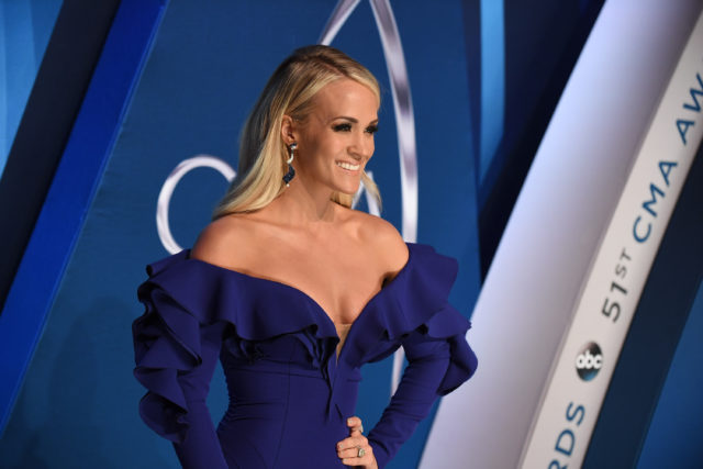 "THE 51ST ANNUAL CMA AWARDS - ""The 51st Annual CMA Awards,"" hosted for the 10th year by Brad Paisley and Carrie Underwood, airs live from Bridgestone Arena in Nashville, WEDNESDAY, NOV. 8 (8:00-11:00 p.m. EST), on The ABC Television Network. (ABC/Image Group LA) CARRIE UNDERWOOD"