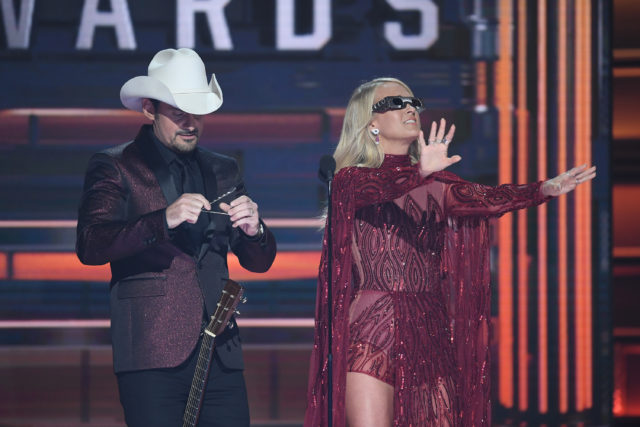 """THE 51ST ANNUAL CMA AWARDS - """"The 51st Annual CMA Awards,"""" hosted for the 10th year by Brad Paisley and Carrie Underwood, airs live from Bridgestone Arena in Nashville, WEDNESDAY, NOV. 8 (8:00-11:00 p.m. EST), on The ABC Television Network. (ABC/Image Group LA) BRAD PAISLEY, CARRIE UNDERWOOD"""