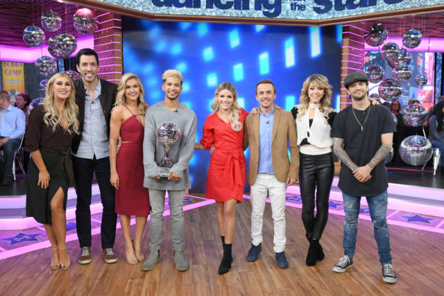 "GOOD MORNING AMERICA - The final four couples of ÒDancing with the StarsÓ are guests and 98 Degrees perform live on ""Good Morning America,"" Wednesday, November 22, 2017 on the ABC Television Network. (ABC/Lorenzo Bevilaqua) EMMA SLATER, DREW SCOTT, LINDSAY ARNOLD, JORDAN FISHER, WITNEY CARSON, FRANKIE MUNIZ, LINDSEY STIRLING, MARK BALLAS"