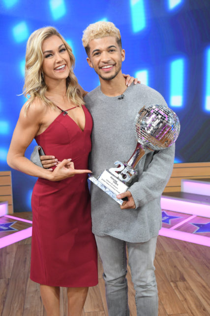 "GOOD MORNING AMERICA - The final four couples of ÒDancing with the StarsÓ are guests and 98 Degrees perform live on ""Good Morning America,"" Wednesday, November 22, 2017 on the ABC Television Network. (ABC/Lorenzo Bevilaqua) LINDSAY ARNOLD, JORDAN FISHER"