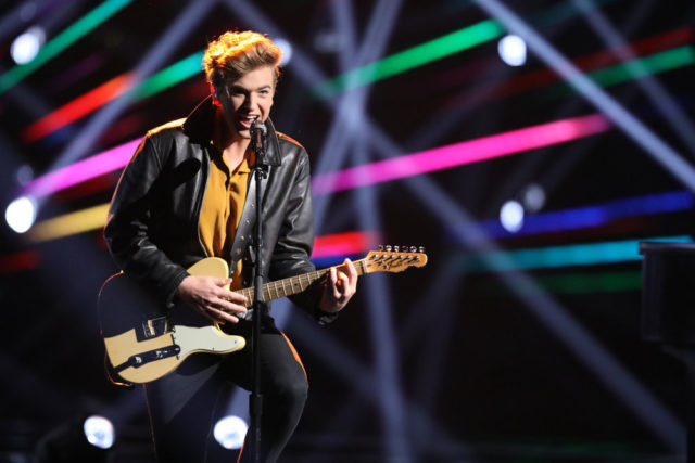 """THE VOICE -- """"Live Top 12"""" Episode 1317A -- Pictured: Noah Mac -- (Photo by: Tyler Golden/NBC)"""