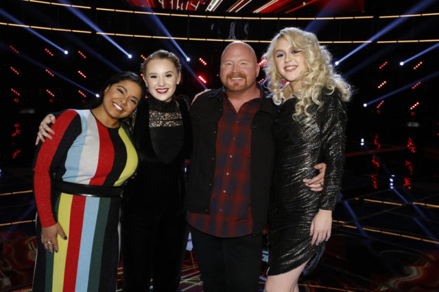 "THE VOICE -- ""Live Semi Finals"" Episode 1320B -- Pictured: (l-r) Brooke Simpson, Addison Agen, Red Marlow, Chloe Kohanski -- (Photo by: Trae Patton/NBC)"