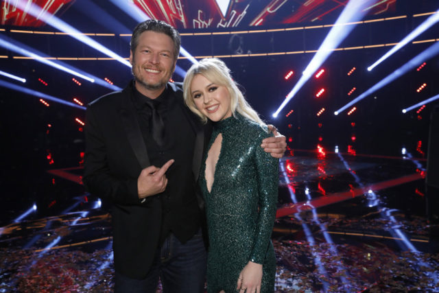 "THE VOICE -- ""Live Finale"" Episode 13121B -- Pictured: (l-r) Blake Shelton, Chloe Kohanski -- (Photo by: Trae Patton/NBC)"