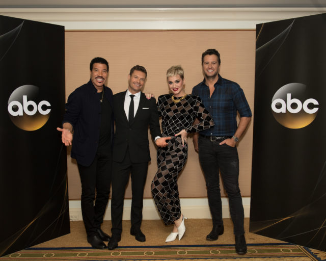 """TCA WINTER PRESS TOUR 2018 - """"American Idol"""" Session - The cast and executive producers of """"American Idol"""" addressed the press at Disney   ABC Television Group's Winter Press Tour 2018. (ABC/Image Group LA) LIONEL RICHIE, RYAN SEACREST, KATY PERRY, LUKE BRYAN"""
