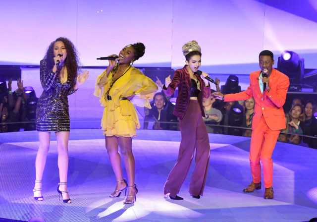 """THE FOUR: BATTLE FOR STARDOM: L-R: Contestants Cheyenne Elliott, Candice Boyd, Zhavia and Jason Warrior in the """"Week Three"""" episode of FOX's all-new singing competition series, THE FOUR: BATTLE FOR STARDOM airing Thursday, Jan. 18 (8:00-10:00 PM ET/PT) on FOX. CR: FOX. © 2018 FOX Broadcasting."""