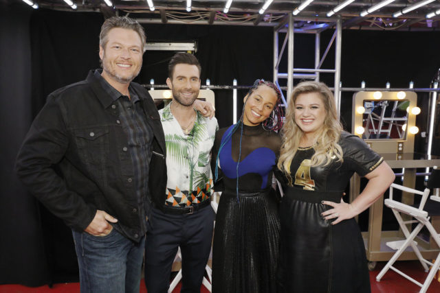 "THE VOICE -- ""Blind Auditions"" -- Pictured: (l-r) Blake Shelton, Adam Levine, Alicia Keys, Kelly Clarkson -- (Photo by: Trae Patton/NBC)"