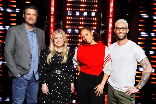 """THE VOICE -- """"Press Junket"""" -- Pictured: (l-r) Blake Shelton, Kelly Clarkson, Alicia Keys, Adam Levine; First-time coach and superstar recording artist Kelly Clarkson is ready to compete against fellow coaches Blake Shelton, Alicia Keys and Adam Levine as the four-time Emmy Award-winning series ?The Voice? begins its 14th season on Monday, Feb. 26 at 8 p.m. ET/PT. -- (Photo by: Trae Patton/NBC)"""