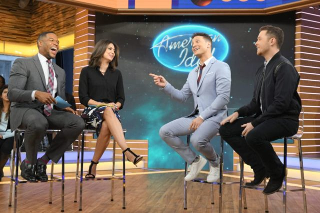 """GOOD MORNING AMERICA - Justin Guarini and Scotty McCreery of """"American Idol"""" are guests on """"Good Morning America,"""" Monday, March 12, 2018, airing on the ABC Television Network. (ABC/Lorenzo Bevilaqua) MICHAEL STRAHAN, CECILIA VEGA, JUSTIN GUARINI, SCOTTY MCCREERY"""