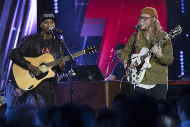 """AMERICAN IDOL - """"110 (Top 24 Celebrity Duets)"""" - As the pool has been narrowed to the top 24 contestants, 12 of the top 24 finalists perform duets with celebrity partners at Academy LA in Hollywood during this week in the competition, as the search for AmericaÕs next superstar continues on its new home on AmericaÕs network, The ABC Television Network, MONDAY, APRIL 9 (8:00-10:00 p.m. EDT). (ABC/Eric McCandless) DENNIS LORENZO, ALLEN STONE"""