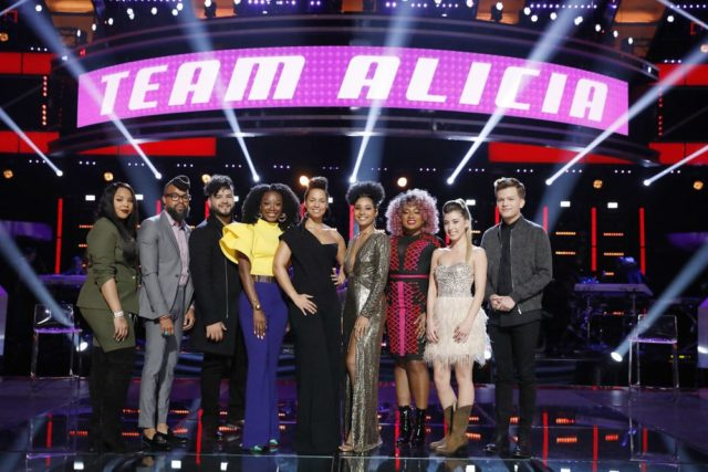 "THE VOICE -- ""Knockout Rounds"" -- Pictured: (l-r) Sharane Calister, Terrance Cunningham, Johnny Bliss, Christiana Danielle, Alicia Keys, Kelsea Johnson, Miya Bass, Dallas Caroline, Britton Buchanan -- (Photo by: Trae Patton/NBC)"