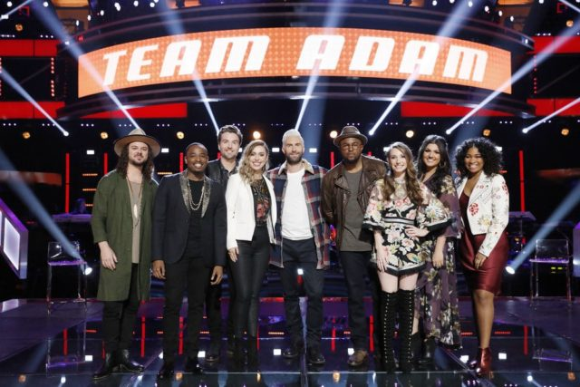 "THE VOICE -- ""Knockout Rounds"" -- Pictured: (l-r) Drew Cole, Rayshun Lamarr, Reid Umstattd, Jackie Foster, Adam Levine, Gary Edwards, Jackie Verna, Mia Boostrom, Jordyn Simone -- (Photo by: Trae Patton/NBC)"