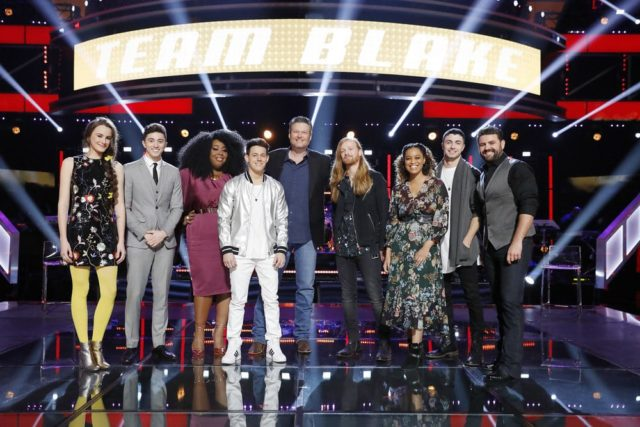 "THE VOICE -- ""Knockout Rounds"" -- Pictured: (l-r) Jaclyn Lovey, Austin Giorgio, Kyla Jade, Jaron Strom, Blake Shelton, Wilkes, Spensha Baker, Dylan HartiganPryor Baird -- (Photo by: Trae Patton/NBC)"