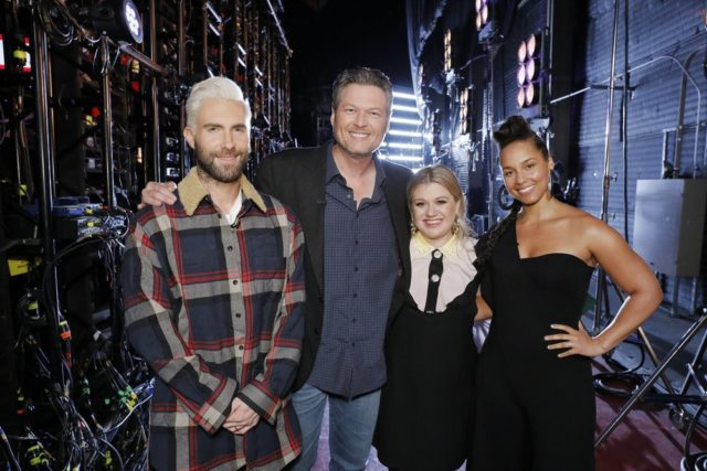 "THE VOICE -- ""Knockout Rounds"" -- Pictured: (l-r) Adam Levine, Blake Shelton, Kelly Clarkson, Alicia Keys -- (Photo by: Trae Patton/NBC)"