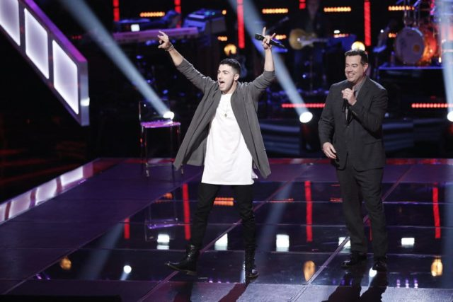 "THE VOICE -- ""Knockout Rounds"" -- Pictured: (l-r) Dylan Hartigan, Carson Daly -- (Photo by: Tyler Golden/NBC)"